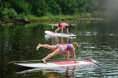 SUP Yoga Couple at Lake