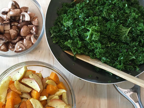 Detox Warm Kale salad Pomegranate dressing lentils mushrooms roasted apples and butternut squash