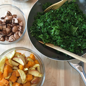 Detox Warm Kale salad Pomegranate dressing lentils mushrooms roasted apples and butternut squash