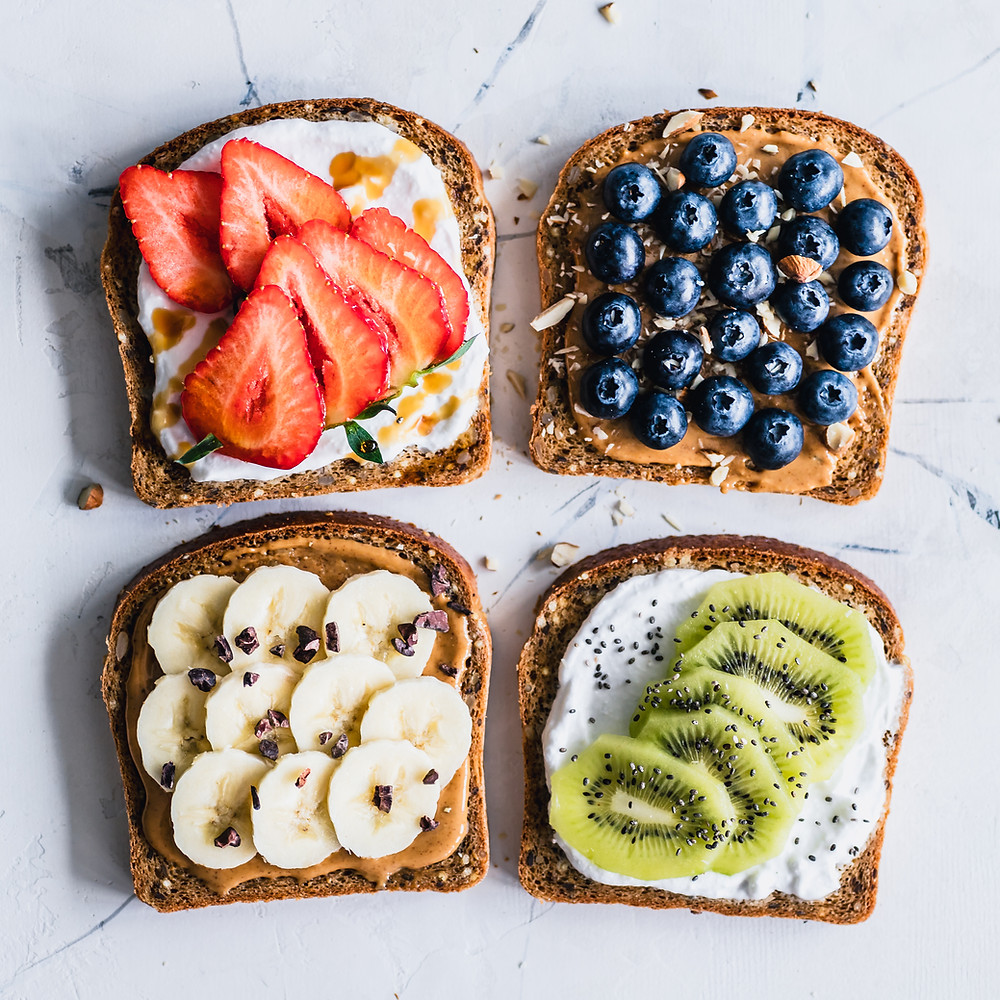 Toast with variety of fruit toppings