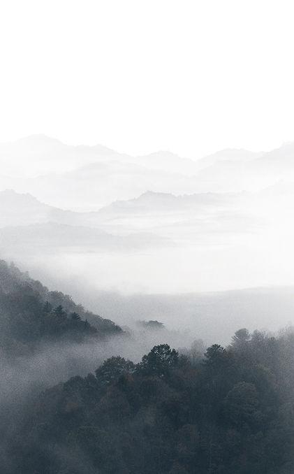 Neblige Berge