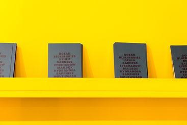 Livros em uma parede amarela