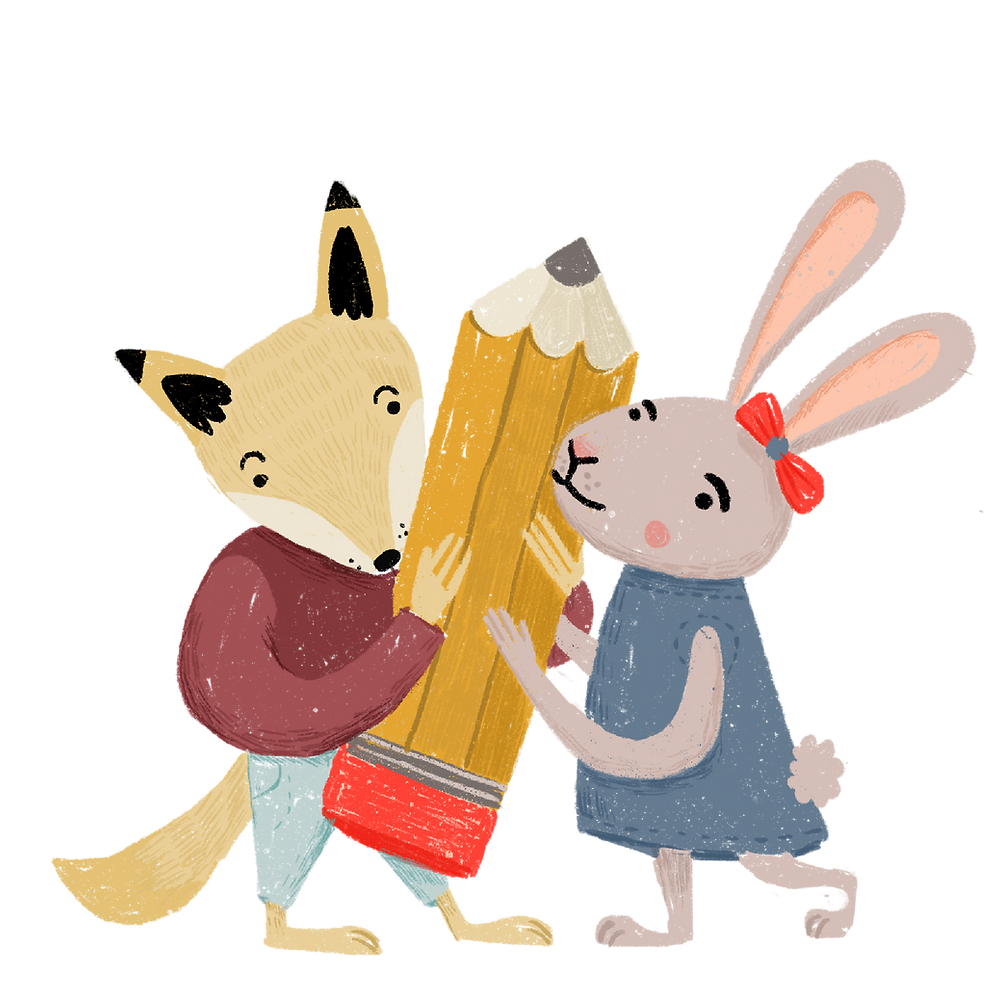 Fox and Rabbit holding a large pencil