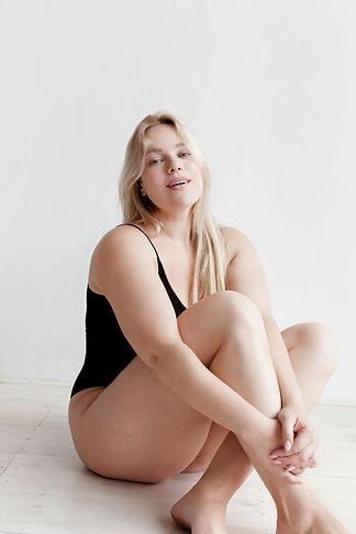 Woman in Black Swimsuit