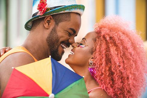 Carnival Couple rubbing noses