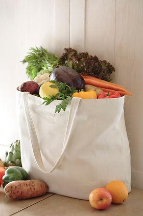 Beutel mit Bio-Obst und Gemüse
