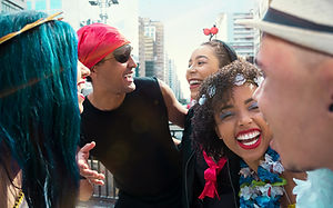 Laughing Carnival Partygoers