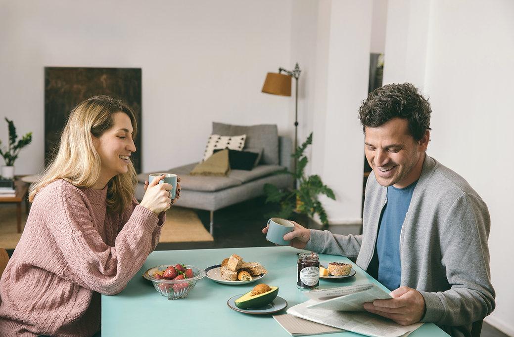 Couple, avoir, petit déjeuner