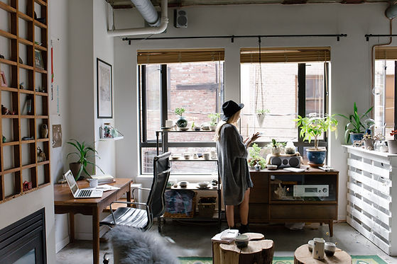 Woman in Artistic Room