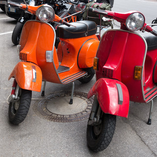 Colorful Motor Scooters