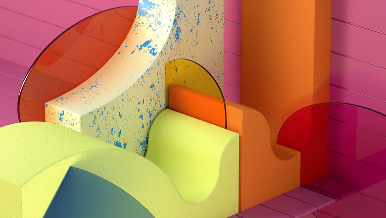 Geometrische Formen aus gemischtem Mater