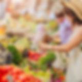 Femme, achat, legumes