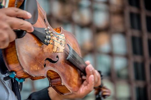 man holding a violin