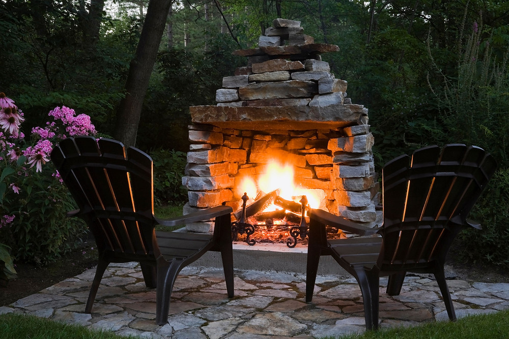 outdoor fireplace, firepit, fire pit, summit outdoor designs, stone fireplace, pavers, paver patio, pavestone, flagstone, stone firepit, adirondack chair, adirondack, summit outdoor designs, outdoor design, summit built