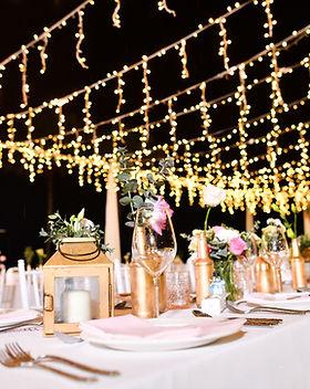 Bruiloft tafel 's nachts