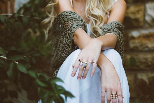 Femme, à, anneaux