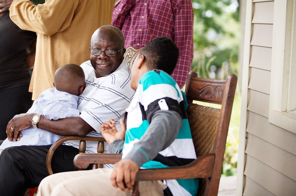 Homem, com, netos