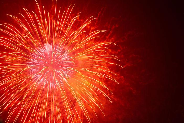 rote Feuerwerke