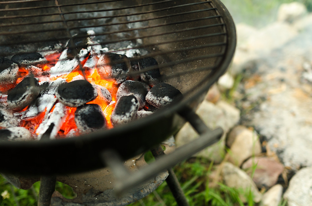 little charcoal grill at Ash Street Cooperative