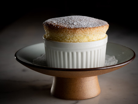 Orange curd layered soufflé pudding