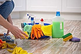 Donna con prodotti per la pulizia