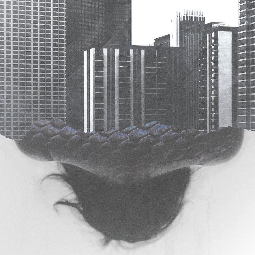 Коллаж человека и зданий