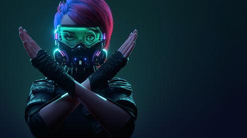 Woman with Futuristic Mask