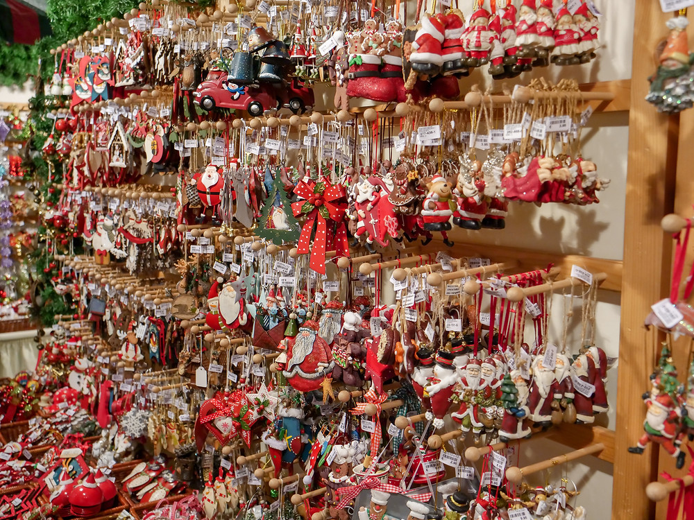 Hundreds of Christmas ornaments in a shop