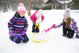Girls Playing in Snow
