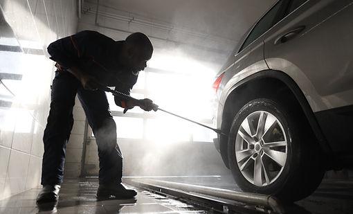Hombre, limpieza, coche