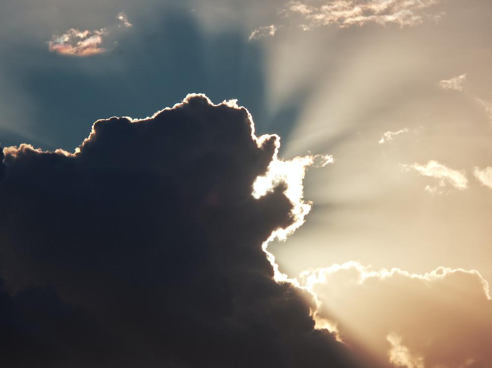Τhe sunlight behind the clouds