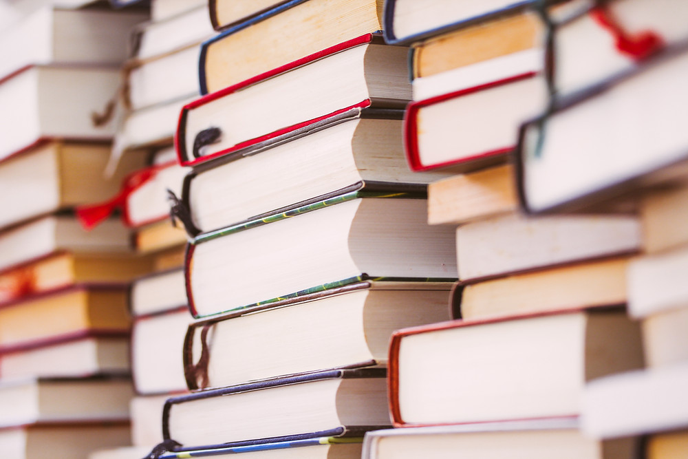 books piled high