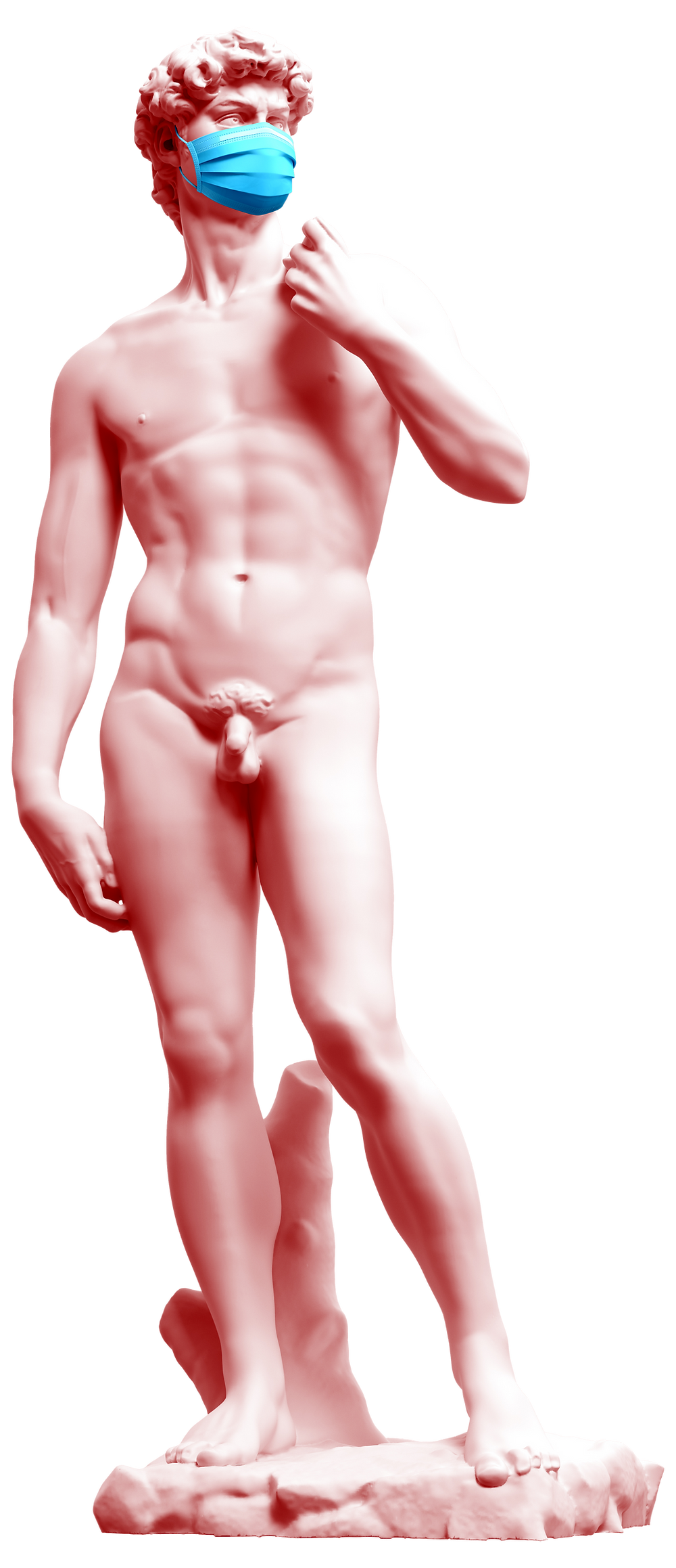 Michelangelo's David with COVID mask