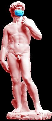 Oud standbeeld met masker