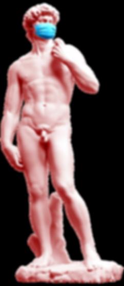 Antigua estatua con máscara