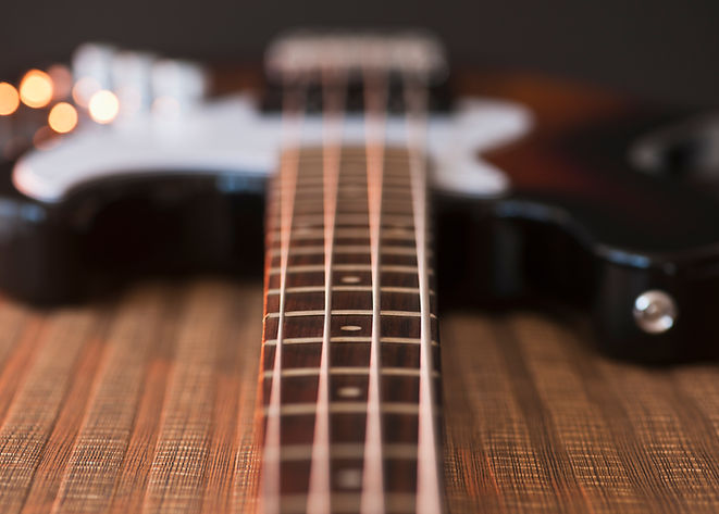 Close Up View of Bass Guitar Strings