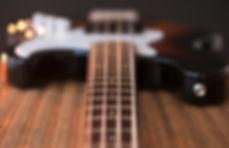 Close-Up vista de cordas de guitarra bai