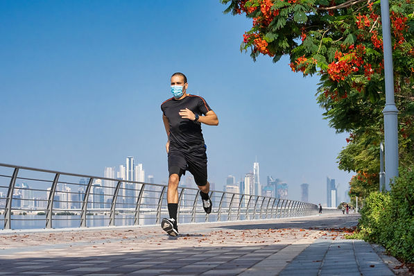 Man Running with a Mask