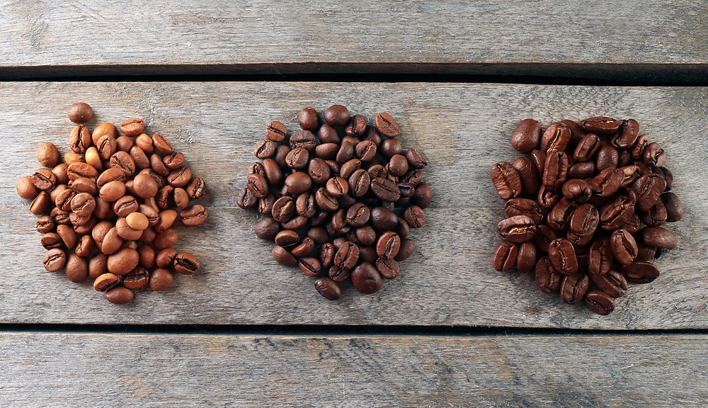 Coffee Beans, three roast colours