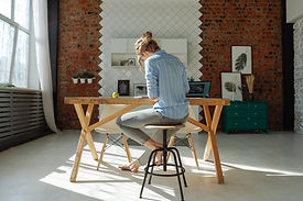 Working at Wooden Table