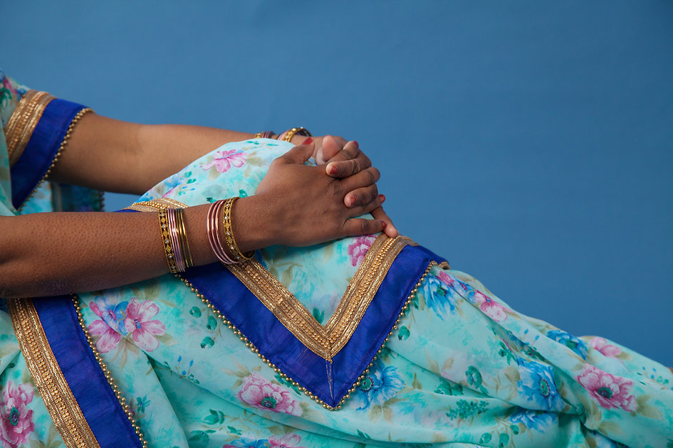 Blue and Gold Sari