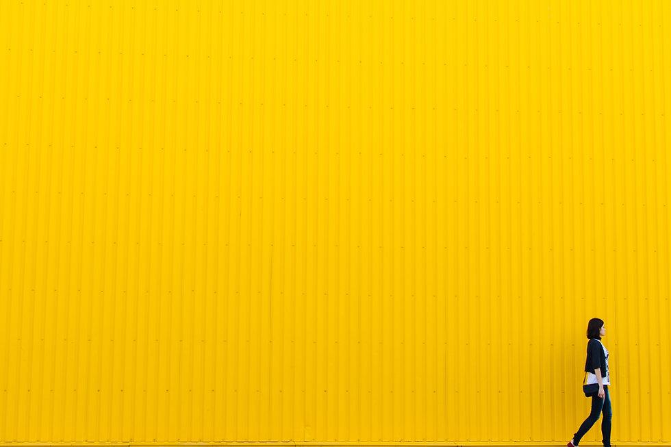 黄色のブリキの壁