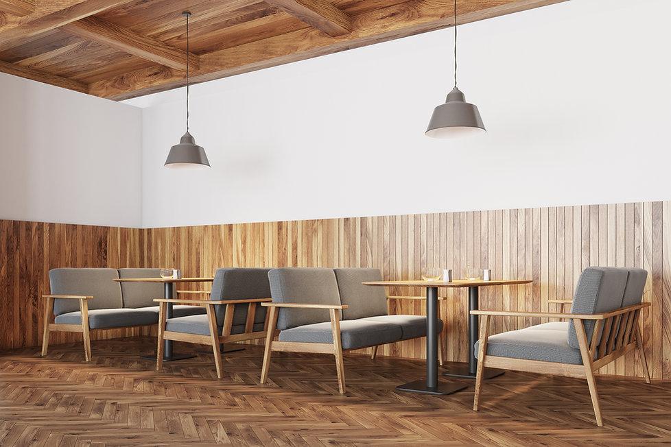Intérieur de café en bois