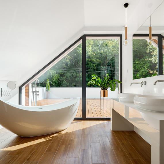 Badezimmer Holzfußboden
