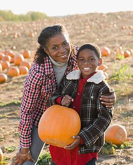Portrait over Pumpkin Patch