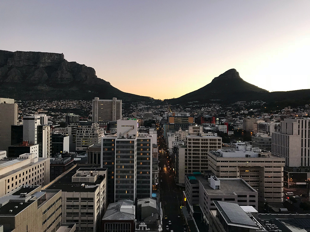 Wide shot at sunset of city center of Cape Town, South Africa