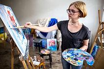 Artist Painting on Canvas