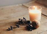 Kerze und Beeren