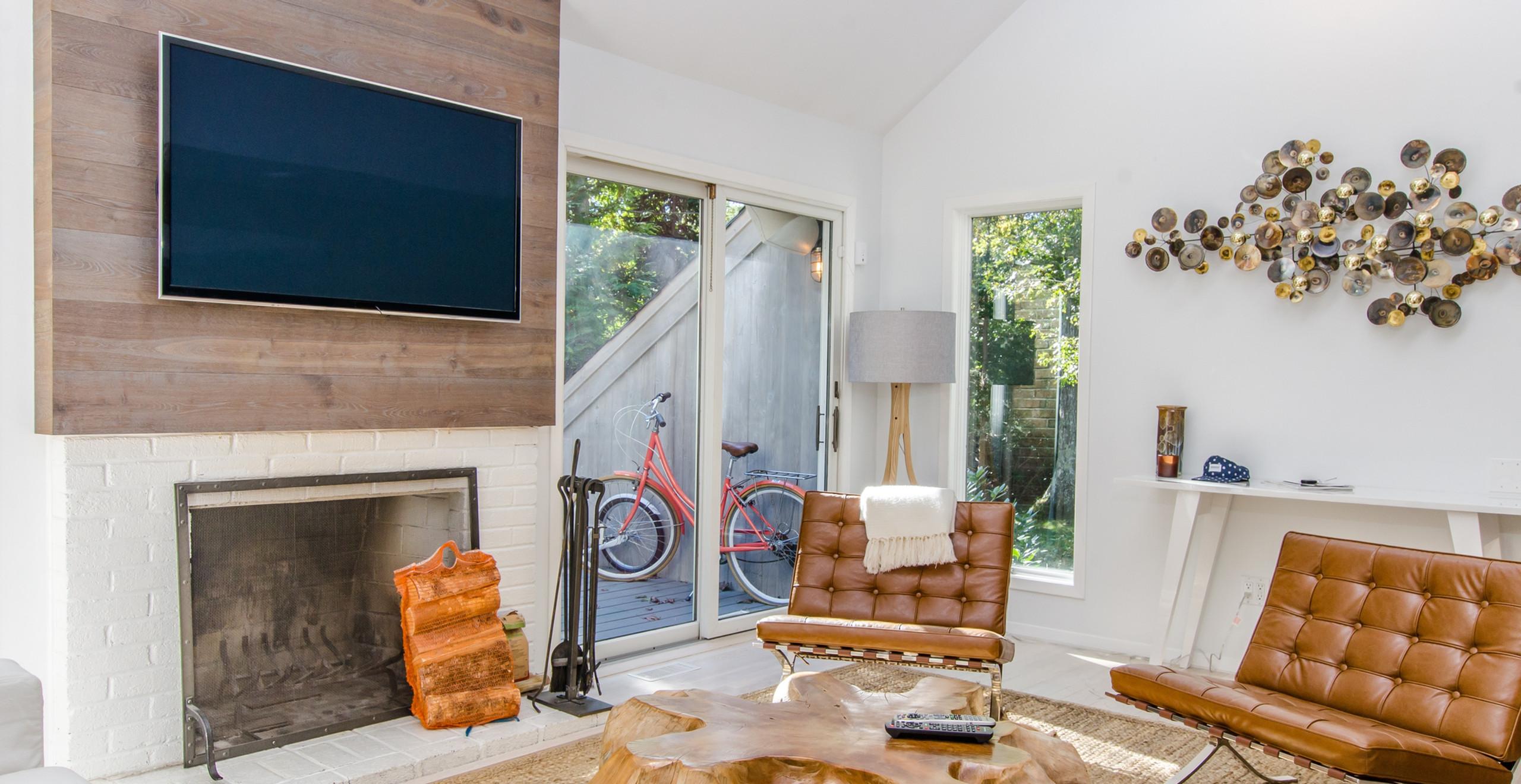 Cozy living room fireplace