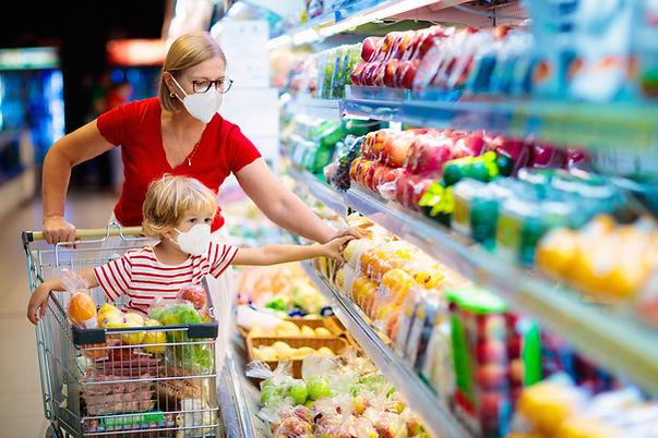 Livsmedelsbutik med mask